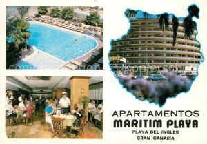 AK / Ansichtskarte Playa del Ingles Gran Canaria Apartamentos Maritim Playa Restaurant Swimming Pool Kat. San Bartolome de Tirajana