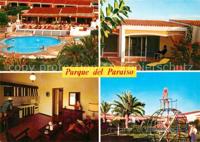 AK Ansichtskarte Playa Del Ingles Gran Canaria Parque Paraiso Bungalow Swimming Pool Kinderspielplatz Kat
