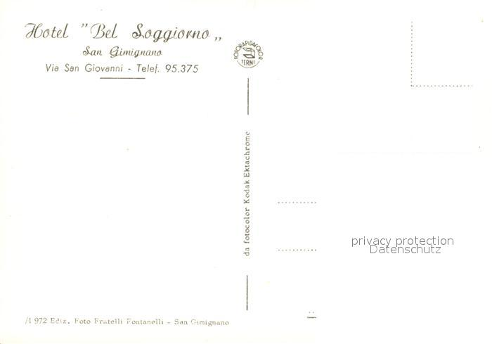 AK / Ansichtskarte San Gimignano Hotel Bel Soggiorno Ristorante Nr ...