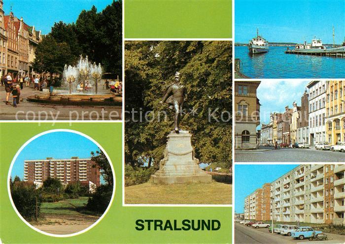 AK / Ansichtskarte Stralsund Mecklenburg Vorpommern Ossenreyer Strasse Rudolf Leonhard Weg Ferdinand von Schill Denkmal Anlegestelle Muehlenstrasse Heinrich Heine Ring Kat. Stralsund