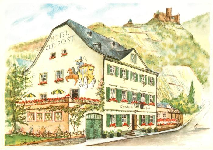 AK / Ansichtskarte Bernkastel Kues Hotel Weinstuben zur Post Zeichnung Kuenstlerkarte Kat. Bernkastel Kues