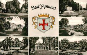AK / Ansichtskarte Bad Pyrmont Erdbeertempel Kurpark Kurhaus Palmengarten Hauptallee Palmengarten Kat. Bad Pyrmont