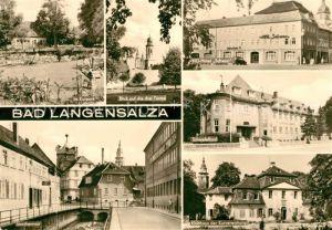 AK / Ansichtskarte Bad Langensalza Kurpark Drei Tuerme HO Hotel Schwan Schwefelbad Storchennest Klubhaus der Kurverwaltung Kat. Bad Langensalza