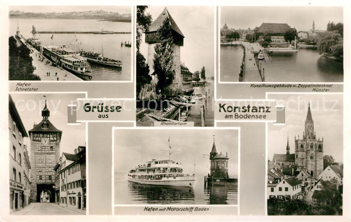 AK / Ansichtskarte Konstanz Bodensee Hafen Schnetztor Konziliumsgebaeude Zeppelindenkmal Muenster  Kat. Konstanz
