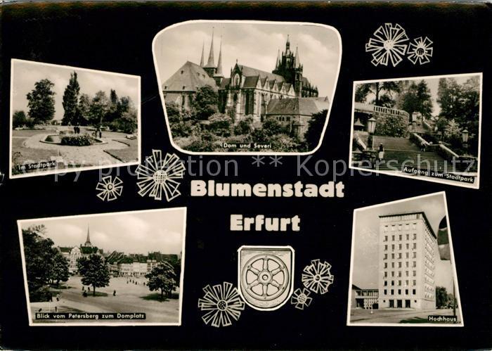 AK / Ansichtskarte Erfurt Im Stadtpark Dom und Severi Treppenaufgang Petersberg Domplatz Hochhaus Kat. Erfurt
