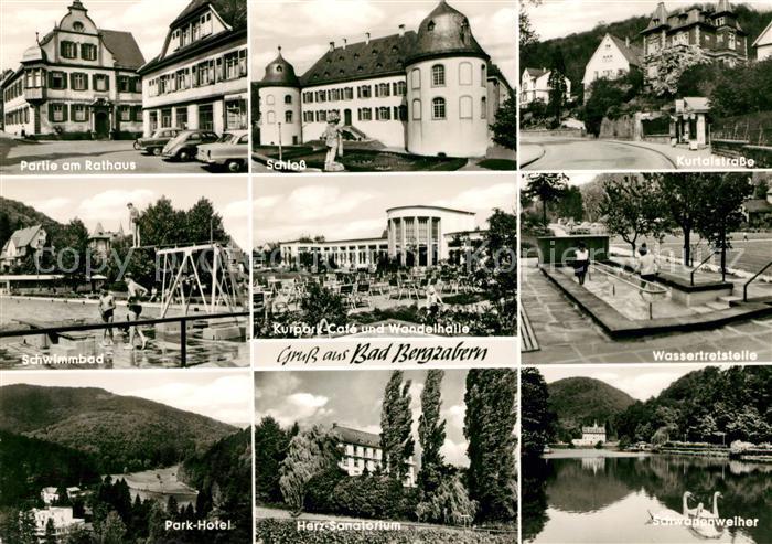 AK / Ansichtskarte Bad Bergzabern Schwimmbad Rathaus Schloss Kurtalstrasse Parkhotel Wassertretspiele Kat. Bad Bergzabern