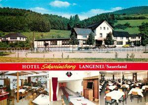 AK / Ansichtskarte Langenei Hotel Schweinsberg Gaststube Kegelbahn Speisesaal Kat. Lennestadt