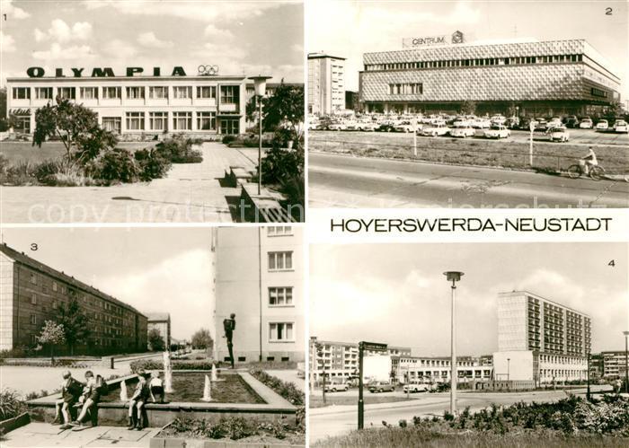 AK / Ansichtskarte Hoyerswerda Neustadt HO Gaststaette Olympia Centrum Warenhaus Springbrunnen Kat. Hoyerswerda