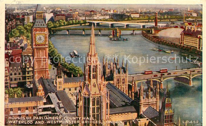 AK / Ansichtskarte London Parlament County Hall Waterloo Westminster Bridges Kat. City of London