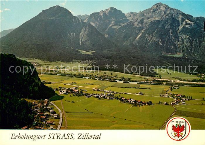 AK / Ansichtskarte Strass Zillertal Panorama Talboden Wallfahrtskirche Maria Brettfall Kat. Strass im Zillertal