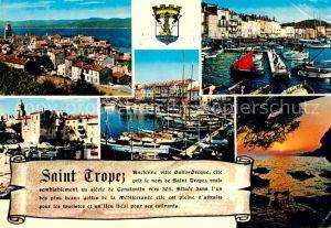 AK / Ansichtskarte Saint Tropez Var Vue generale et le Golfe Le Port Vieux port des pecheurs Coucher de Soleil Kat. Saint Tropez