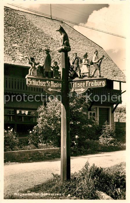 AK / Ansichtskarte Schluchsee Wegweiser im Schwarzwald Titisee Freiburg Kat. Schluchsee