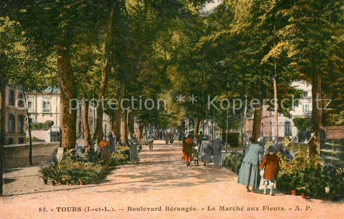 AK / Ansichtskarte Tours Indre et Loire Boulevard Berangee Le Marche aux Fleurs Kat. Tours