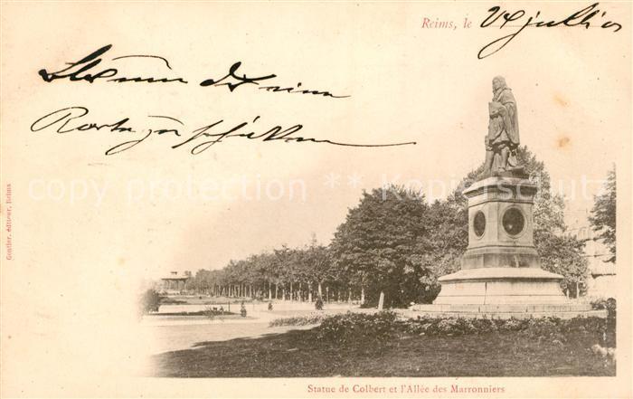 AK / Ansichtskarte Reims Champagne Ardenne Statue de Colbert et l'Allee des Marronniers Kat. Reims