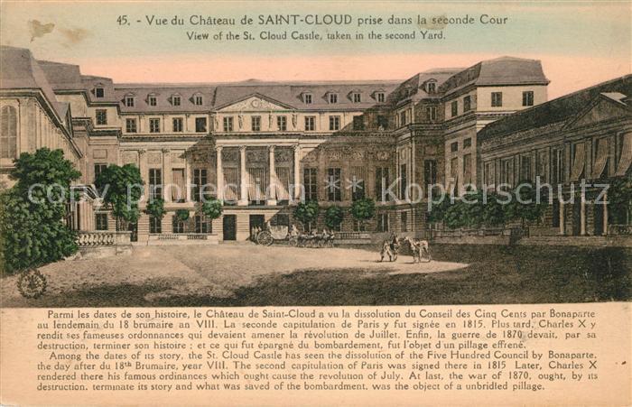 AK / Ansichtskarte Saint Cloud Vue du Chateau de Saint Cloud prise dans la seconde Cour