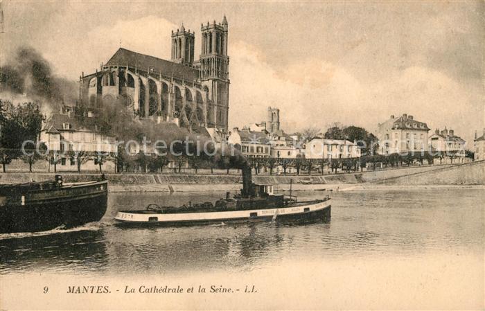 AK / Ansichtskarte Mantes sur Seine La Cathedrale et la Seine Kat. Mantes la Jolie