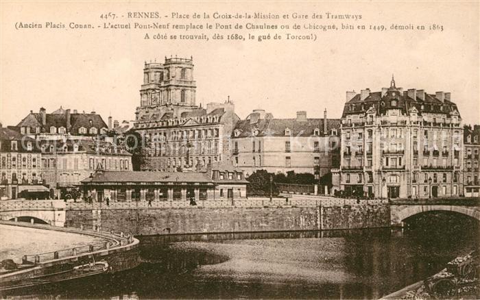AK / Ansichtskarte Rennes Place de la Croix de la Mission et Gare des Tramways Kat. Rennes