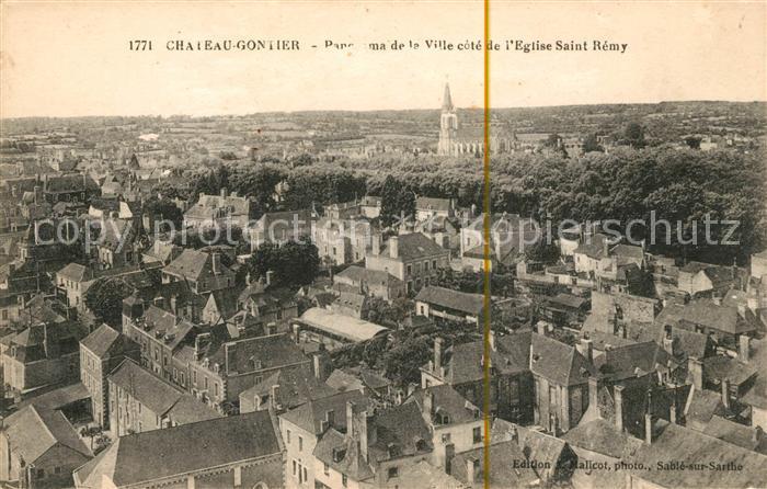 AK / Ansichtskarte Chateau Gontier Panorama de la Ville cote de Eglise Saint Remy Kat. Chateau Gontier