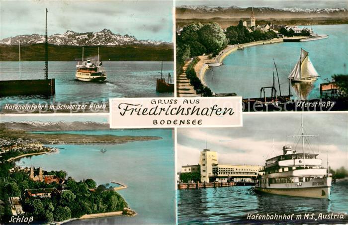 AK / Ansichtskarte Friedrichshafen Bodensee Hafeneinfahrt mit Schweizer Alpen Uferstrasse Schloss Hafenbahnhof MS Austria Kat. Friedrichshafen