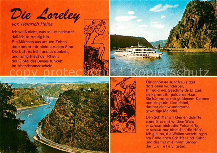 Ak Ansichtskarte Loreley Lorelei Gedicht Heinrich Heine Faehrschiff Kat Sankt Goarshausen