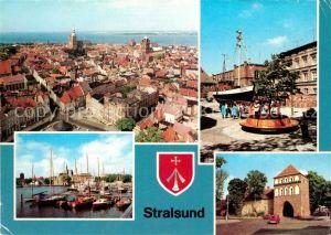 AK / Ansichtskarte Stralsund Mecklenburg Vorpommern Blick von St Marien Meeresmuseum Hafen Kniepertor Kat. Stralsund