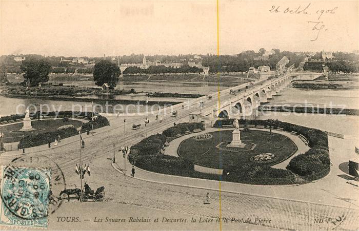 AK / Ansichtskarte Tours Indre et Loire Les Square Rabelais et Descartes la Loire et Pont de Pierre Kat. Tours