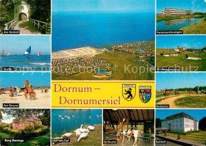 AK / Ansichtskarte Dornumersiel Am Schloss Fliegeraufnahme Ferienwohnungen Kinderspielplatz Strand Reitbahn Burg Beninga Idyll am Tief Scheune Schloss Kat. Dornum