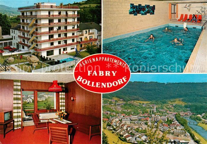 Ak Ansichtskarte Bollendorf Pont Ferienappartements Fabry Hallenbad Gaestezimmer Stadtblick Kat Bollendorferbrueck Berdorf