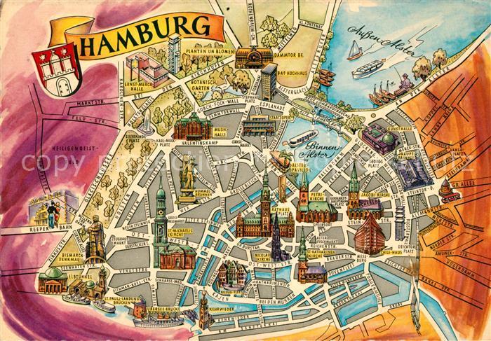 AK / Ansichtskarte Hamburg Stadtkarte Kat. Hamburg