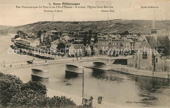 AK / Ansichtskarte Sens Yonne Vue Panoramique de Pont et de Ile d'Yonne Eglise Saint Maurice