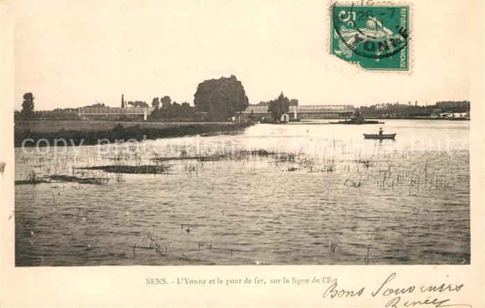 AK / Ansichtskarte Sens Yonne Yonne et le pont de fer sur la ligne de l Est