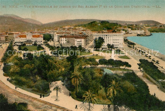 AK / Ansichtskarte Nice Alpes Maritimes Vue d'Ensemble du Jardin du Roi Albert 1er et le Quai des Etats Unis Kat. Nice