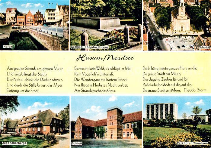 AK / Ansichtskarte Husum Nordfriesland Hafen Grabmal Theodor Storm Markt Jugendherberge Schloss Kat. Husum