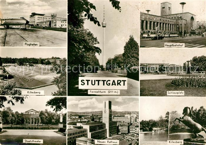 AK / Ansichtskarte Stuttgart Flughafen Hauptbahnhof Staatstheater Killesberg Kat. Stuttgart