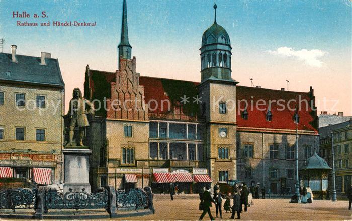 AK / Ansichtskarte Halle Saale Rathaus und Haendel Denkmal Kat. Halle