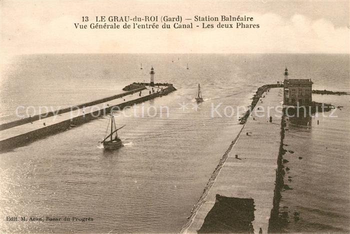 AK / Ansichtskarte Le Grau du Roi Gard Station Balneaire Entree du Canal les deux phares Kat. Le Grau du Roi