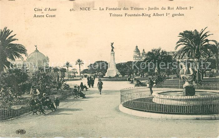 AK / Ansichtskarte Nice Alpes Maritimes La Fontaine des Tritons Jardin du Roi Albert Ier Monument Kat. Nice