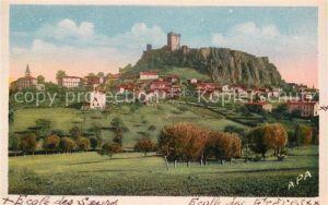 AK / Ansichtskarte Polignac Haute Loire Vue generale avec les deux Ecoles Eglise et le chateau Kuenstlerkarte Kat. Polignac