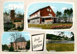 AK / Ansichtskarte Uelsen Alte Windmuehle Hotel am Waldbad Rathaus  Kat. Uelsen