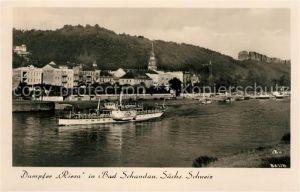 AK / Ansichtskarte Bad Schandau Dampfer Riesa Elbepartie Kat. Bad Schandau