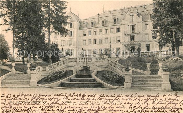 AK / Ansichtskarte Vittel Escalier et Facade du Grand Hotel Kat. Vittel