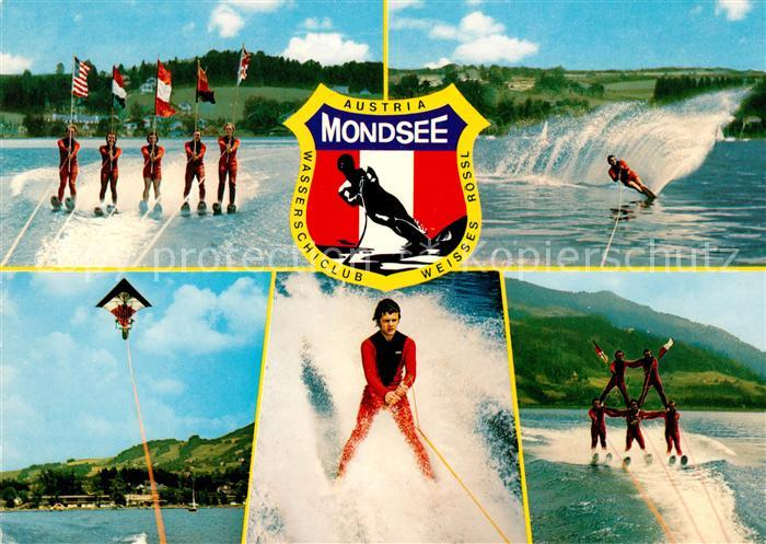 AK / Ansichtskarte Wasserski Wasserskiclub Weisses Roessl Mondsee Flaggenparade Drachenflug Kat. Sport