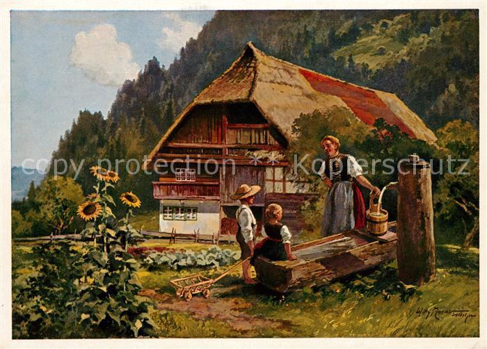 AK / Ansichtskarte Kuenstlerkarte Willy Moralt Altes Schwarzwaldhaus  Kat. Kuenstlerkarte