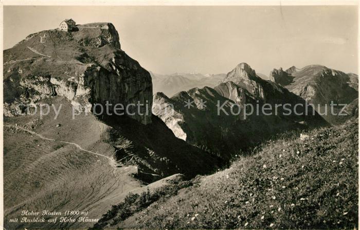 AK / Ansichtskarte Hoher Kasten mit Blick auf Hohe Haeuser Kat. Appenzeller Alpen
