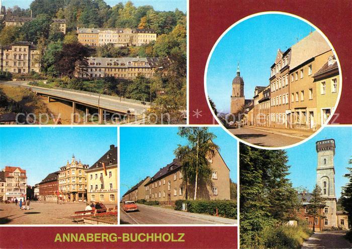 AK / Ansichtskarte Annaberg Buchholz Erzgebirge St. Annenkirche Markt Friedrich Engels Strasse Kat. Annaberg