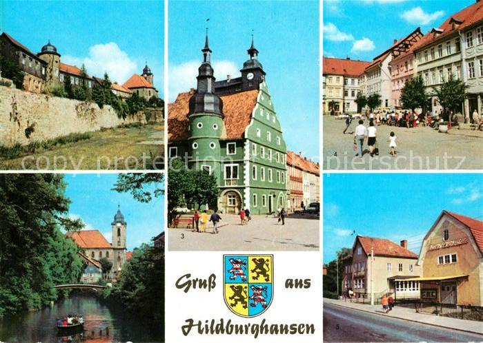 AK / Ansichtskarte Hildburghausen Stadtmauer Friedenspark Rathaus  Kat. Hildburghausen