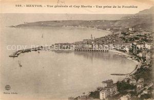 AK / Ansichtskarte Menton Alpes Maritimes Vue generale et Cap Martin vue prise de la Frontiere Kat. Menton