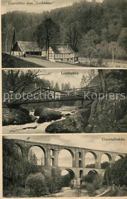 AK / Ansichtskarte Vogtland Region Restaurant Lochbauer Loreleysteg Elstertalbruecke Kat. Bad Elster