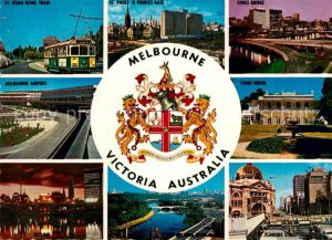 AK / Ansichtskarte Melbourne Victoria Airport St Kada Road Tram Kings Bridge Como House  Kat. Melbourne