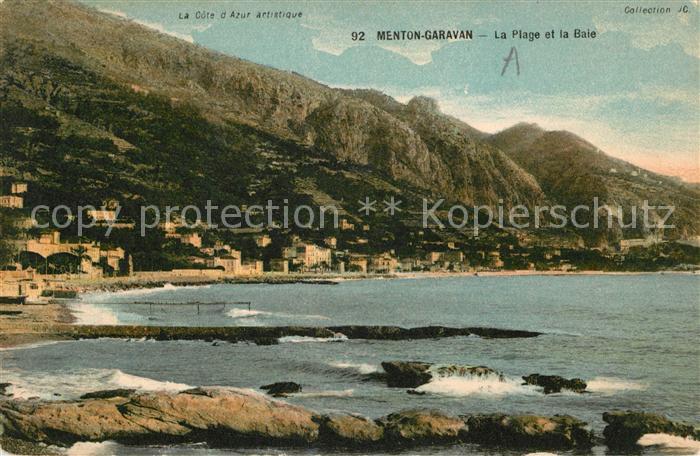 AK / Ansichtskarte Garavan Menton La Plage et la Baie Cote d Azur Kat. Menton Alpes Maritimes